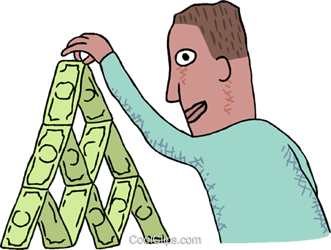 man stacking dollar bills Royalty Free Vector Clip Art illustration busi2609