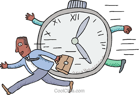 businessman racing against time Royalty Free Vector Clip Art illustration busi2613