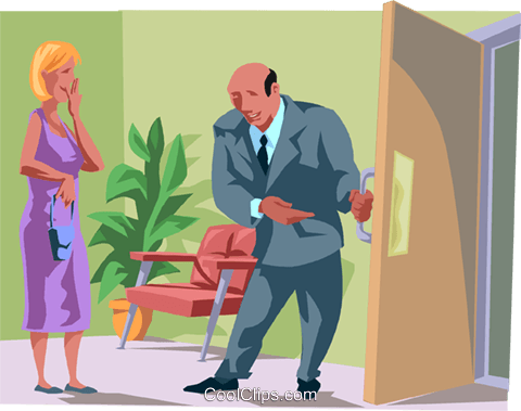 man opening a door for a lady Royalty Free Vector Clip Art illustration busi2622