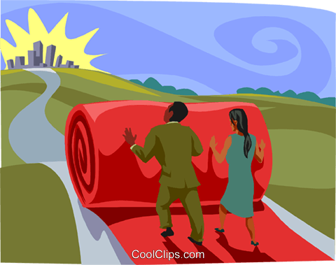 rolling out the red carpet, metaphor Royalty Free Vector Clip Art illustration busi2626