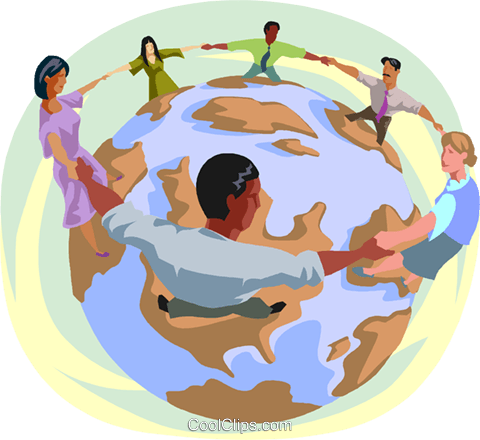 individuals locking arms around the world Royalty Free Vector Clip Art illustration busi2629