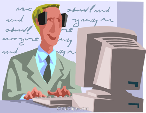 man inputting data at a computer Royalty Free Vector Clip Art illustration busi2630