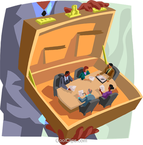 business meeting in a briefcase Royalty Free Vector Clip Art illustration busi2631