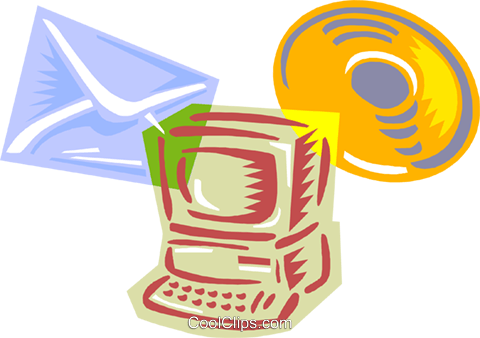 computer with e-mail and CD-ROM Royalty Free Vector Clip Art illustration busi2635