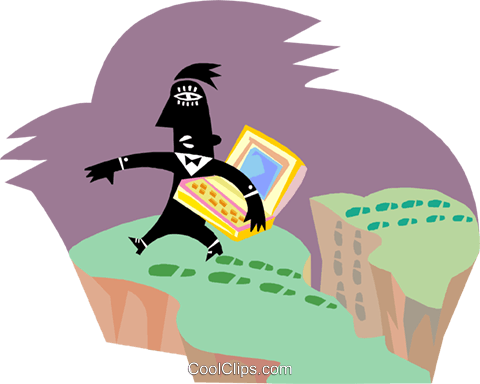 man carefully traversing the landscape Royalty Free Vector Clip Art illustration busi2642