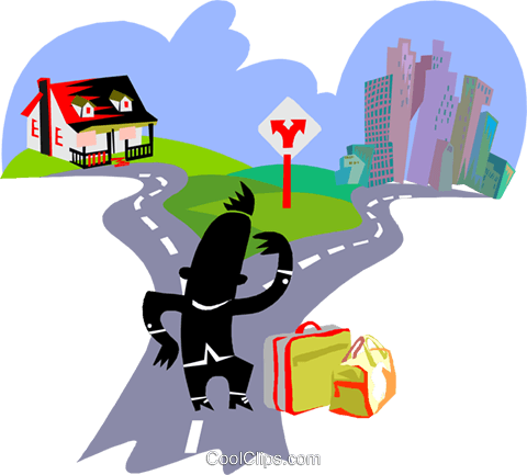 man with luggage at a fork in the road Royalty Free Vector Clip Art illustration busi2643