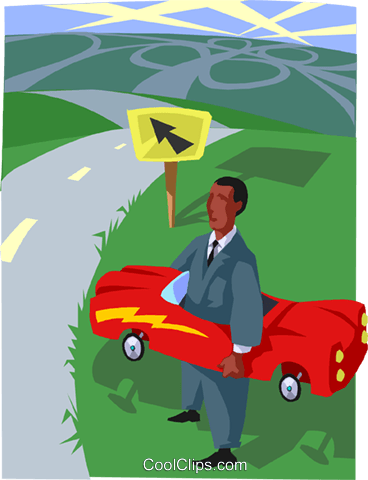 man with a car wondering which way to go Royalty Free Vector Clip Art illustration busi2650