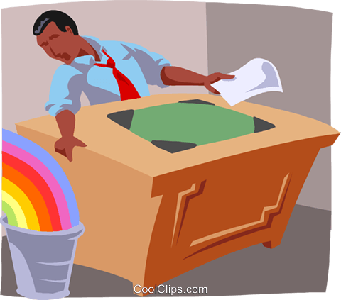 pot of gold at the end of a rainbow Royalty Free Vector Clip Art illustration busi2651