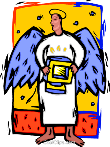 angel with computer Royalty Free Vector Clip Art illustration busi2662
