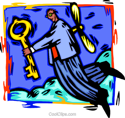 man with a key Royalty Free Vector Clip Art illustration busi2673