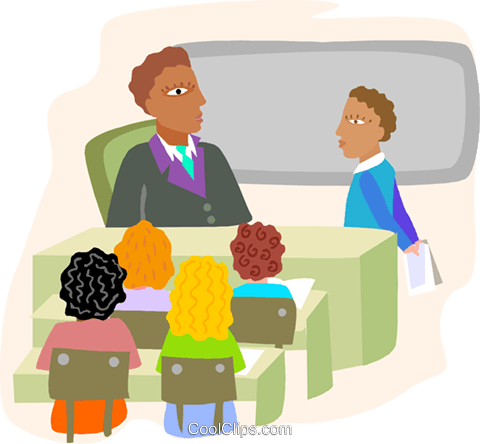 classroom with students and teacher Royalty Free Vector Clip Art illustration educ0058