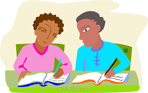 students comparing their notes Royalty Free Vector Clip Art illustration educ0059