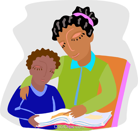 mother and son reviewing lessons Royalty Free Vector Clip Art illustration educ0061
