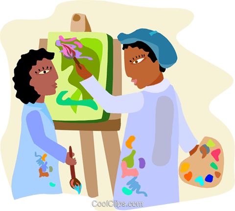 art class, art teacher instructing studen Royalty Free Vector Clip Art illustration educ0064