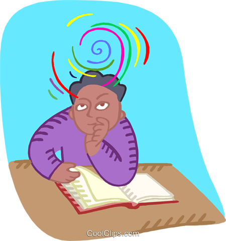 student in a pensive mood Royalty Free Vector Clip Art illustration educ0065