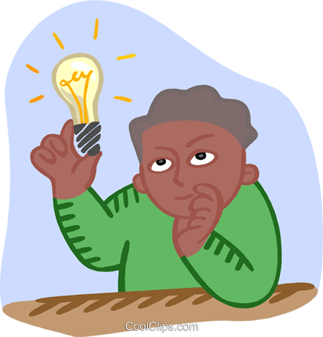 student with an idea Royalty Free Vector Clip Art illustration educ0066