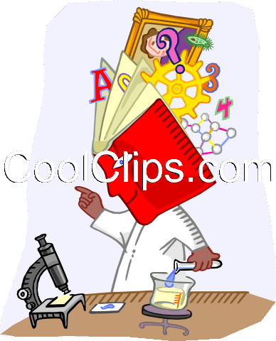 scientist with an encyclopedia head Royalty Free Vector Clip Art illustration indu1112