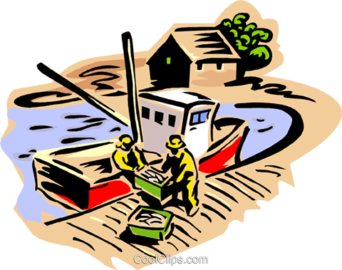 Fishermen unloading a day's catch Royalty Free Vector Clip Art illustration indu1116