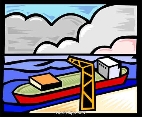 ship at dock receiving cargo Royalty Free Vector Clip Art illustration indu1117