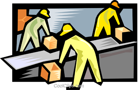 Workmen with packages on a conveyor belt Royalty Free Vector Clip Art illustration indu1119