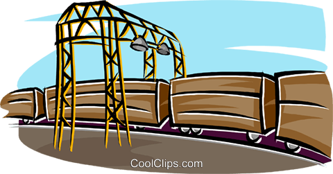 railway cars, transportation, distributio Royalty Free Vector Clip Art illustration indu1120