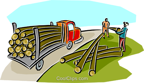 lumber being loaded onto a transport Royalty Free Vector Clip Art illustration indu1123