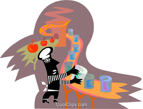 assembly line worker in a canning factory Royalty Free Vector Clip Art illustration indu1126