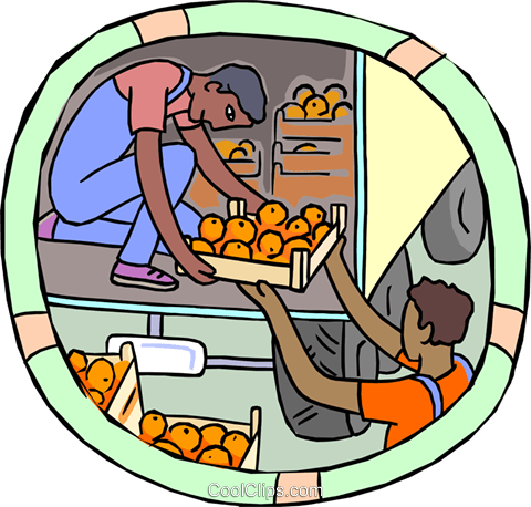 unloading oranges from a truck Royalty Free Vector Clip Art illustration indu1129