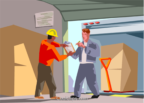 warehouse worker signs for a shipment Royalty Free Vector Clip Art illustration indu1133