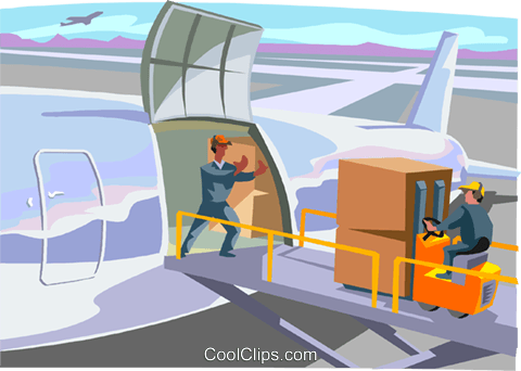 cargo being loaded onto an airplane Royalty Free Vector Clip Art illustration indu1134