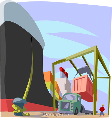 ships being loaded at the dockyards Royalty Free Vector Clip Art illustration indu1138