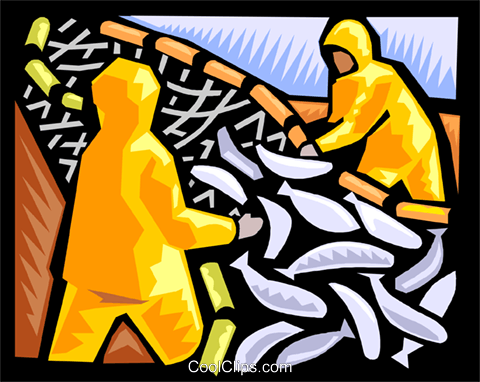 Harvesting the fisheries Royalty Free Vector Clip Art illustration indu1150