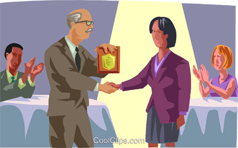 employee receiving an award Royalty Free Vector Clip Art illustration medi0453