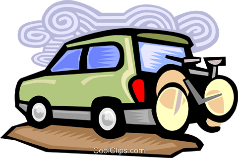 Bicycle on back of truck Royalty Free Vector Clip Art illustration tran1066