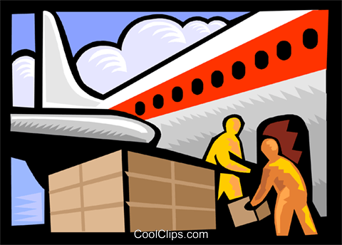 airplane transporting cargo Royalty Free Vector Clip Art illustration tran1068