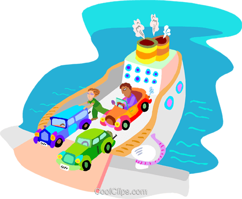 ferry boat with cars Royalty Free Vector Clip Art illustration tran1071