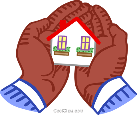 holding a house in the palm of his hand Royalty Free Vector Clip Art illustration busi2677