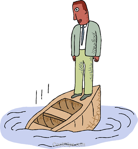 man on a sinking boat Royalty Free Vector Clip Art illustration busi2682