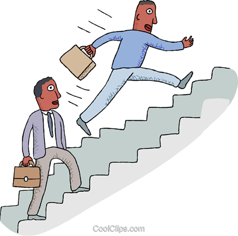 office workers climbing stairs Royalty Free Vector Clip Art illustration busi2683