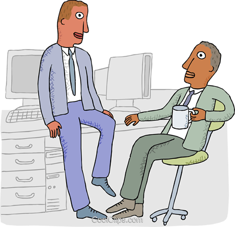 office workers chatting over coffee Royalty Free Vector Clip Art illustration busi2686