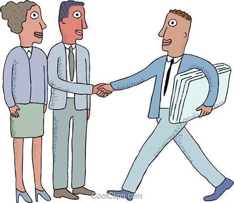 office workers shaking hands Royalty Free Vector Clip Art illustration busi2687