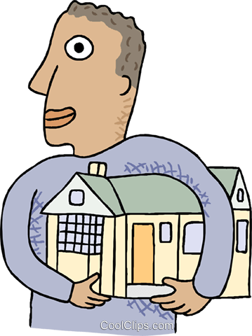 Man with his arms around a house Royalty Free Vector Clip Art illustration busi2689