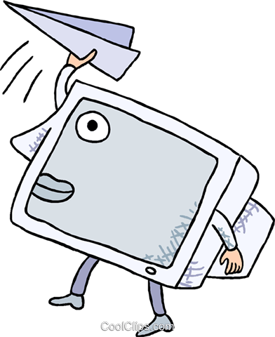 computer monitor with a paper airplane Royalty Free Vector Clip Art illustration busi2690