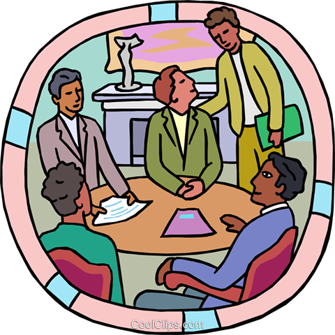 Boardroom meeting at conference table Royalty Free Vector Clip Art illustration busi2692