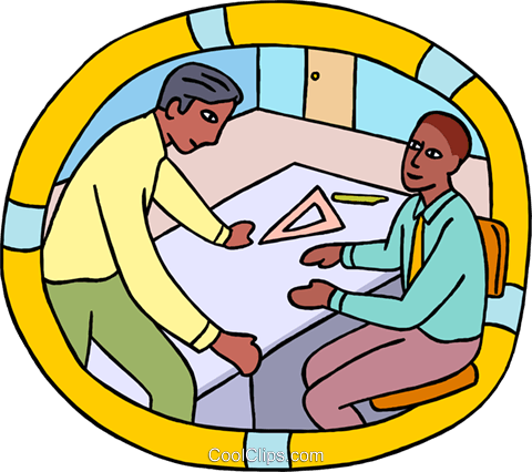 draftsmen discussing matters in an office Royalty Free Vector Clip Art illustration busi2695