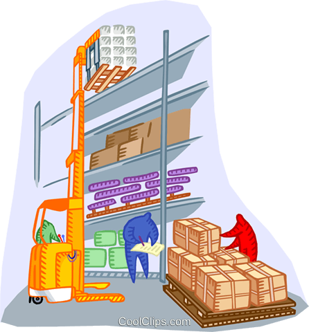 warehouse with forklift Royalty Free Vector Clip Art illustration indu1181