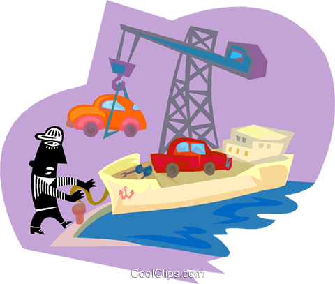 car being loaded onto a cargo ship Royalty Free Vector Clip Art illustration indu1187