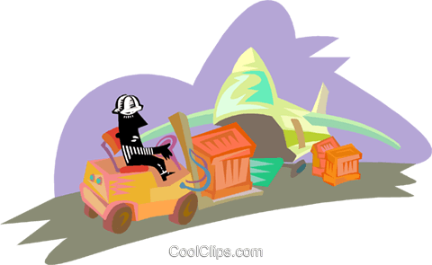 loading cargo onto an airplane Royalty Free Vector Clip Art illustration indu1190
