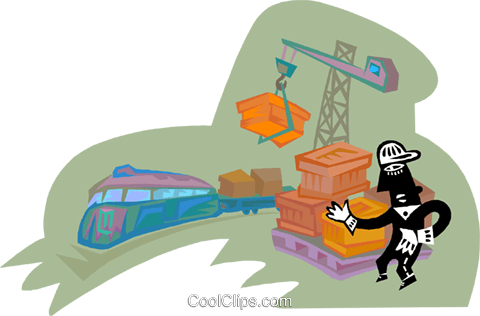 industry, loading cargo onto a flat car Royalty Free Vector Clip Art illustration indu1193