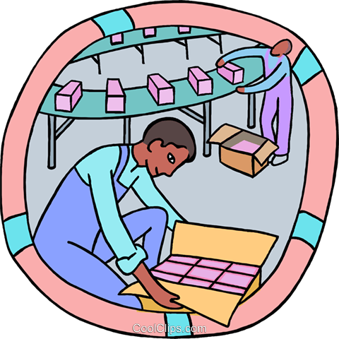 factory workers packaging products Royalty Free Vector Clip Art illustration indu1202